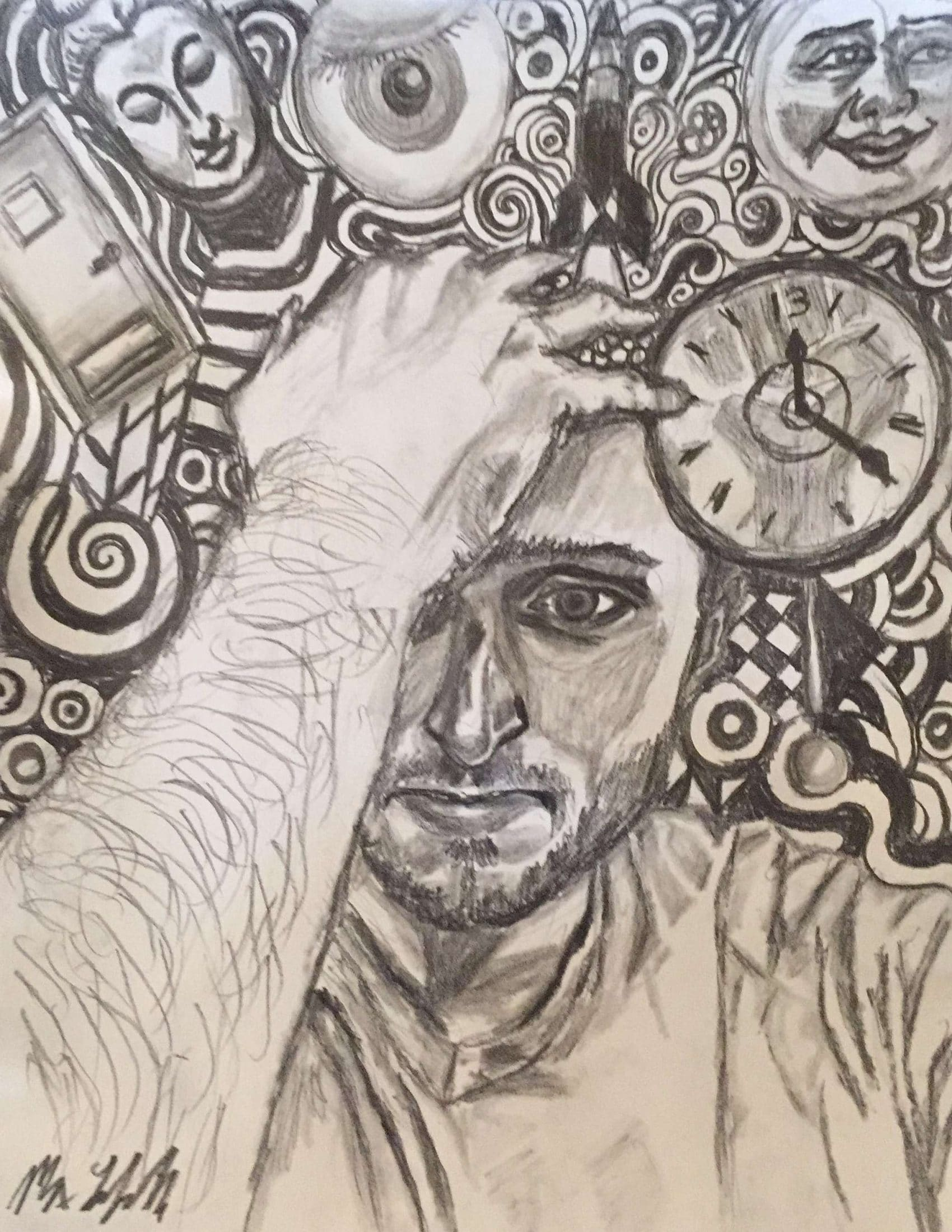 Confusion- Surrebral. Max's drawing representing his feeling confused for a time period.
