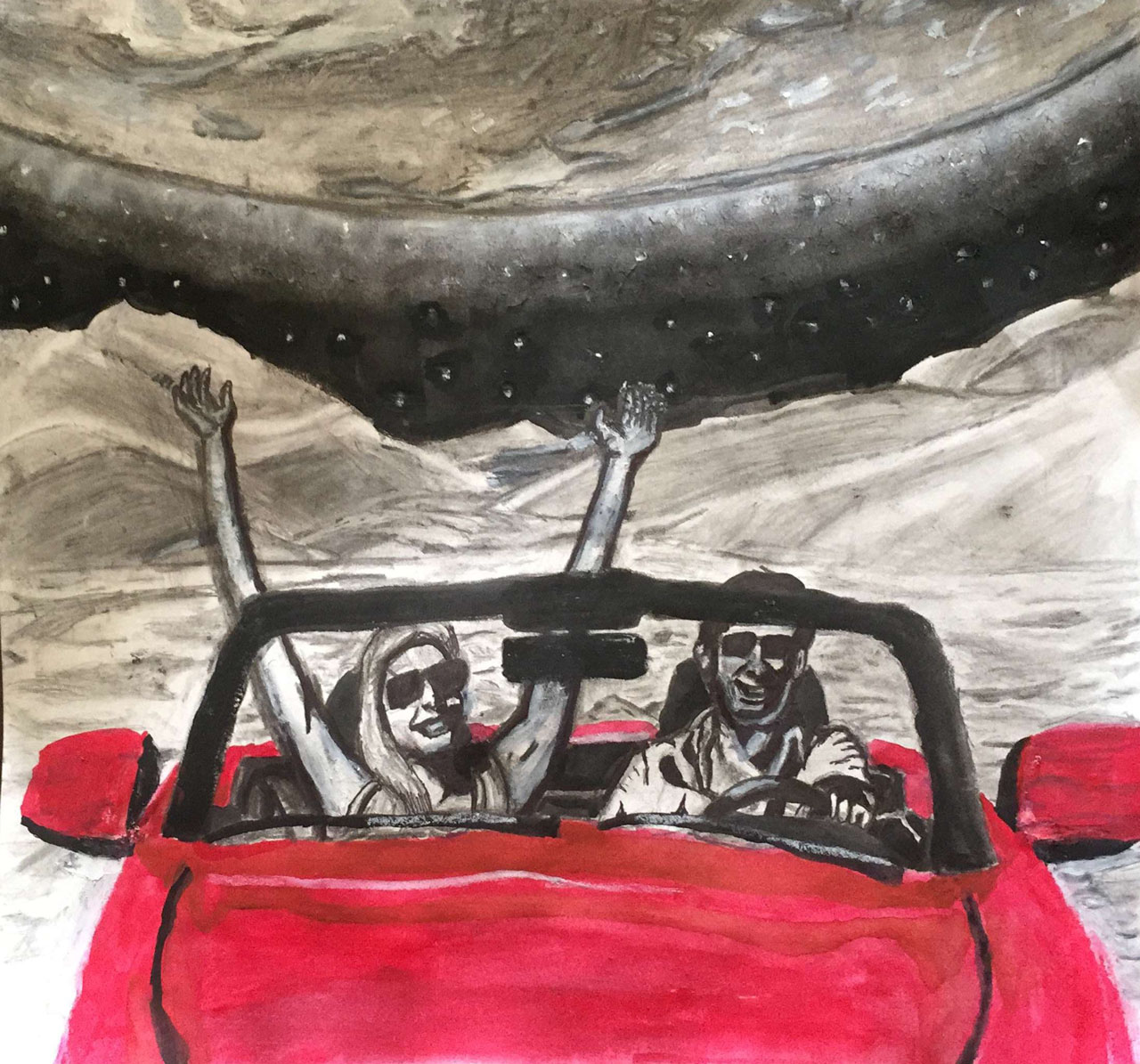 Driving on the Moon from Surrebral- Couple Driving on the moon in a red convertible.