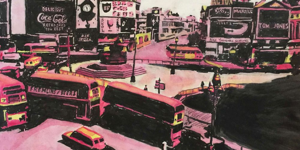 Surrebral- Swingin' Picadilly, painting and stencil of Picadilly Circus in London in the 1960s.