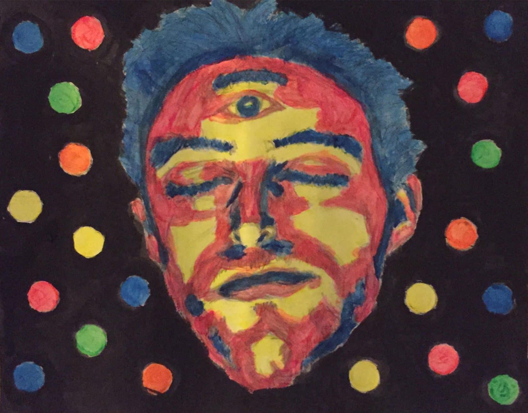 Surrebral- Third Eye cosmic blacklight painting.