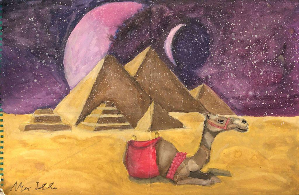 Surrebral Pyramids of Gaza Painting Egypt Moon