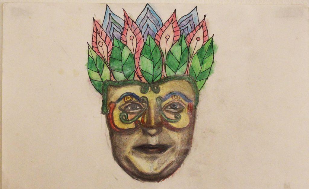 Surrebral Psychedelic Mardi Gras Mask Drawing