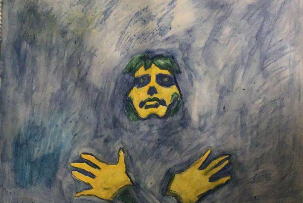 Freddie- Surrebral Portrait Art of Freddie Mercury with Watercolor and Watercolor Pencils